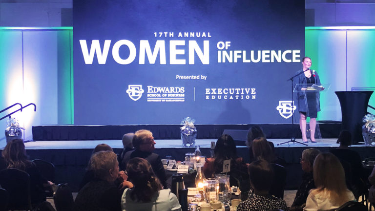 Katherine Regnier Speaks During the Women of Influence Breakfast Presentation